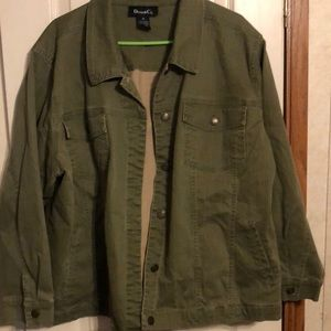 Denim & Co. green denim jean jacket size 3X
